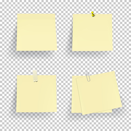 paper pin: Set of note paper with pin, adhesive tape and clip isolated on transparent background. Vector.