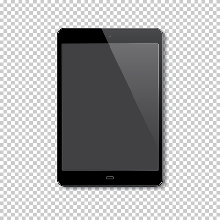 Realistic tablet isolated on transparent background. Vector illustration.