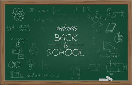 Green school blackboard with chalk WELCOME BACK TO SCHOOL text and different school symbols. Vector illustration. Illustration
