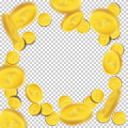 Vector flying coins on transparent background.