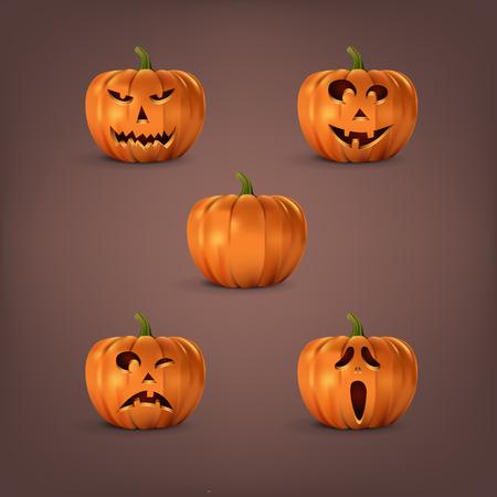 Halloween pumpkins set on dark background. Vector isolated halloween elements. Illustration