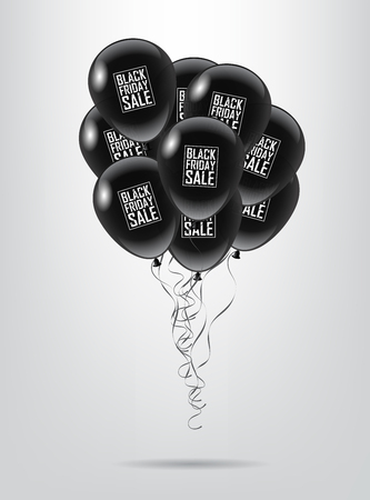 Black balloon bunch with Black Friday Sale text on white background. Vector illustration. Black Friday Sale promotion template.