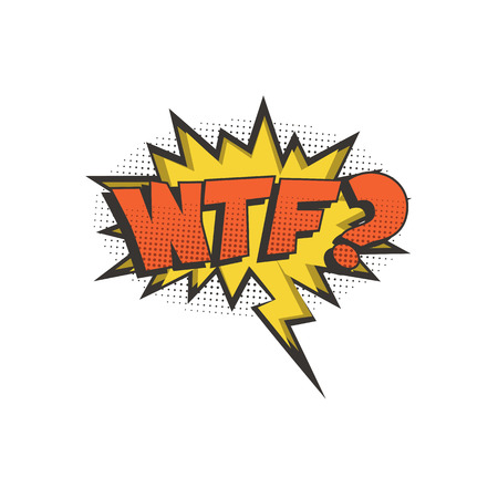 WTF comic text speech bubble. Vector isolated sound effect puff cloud icon.