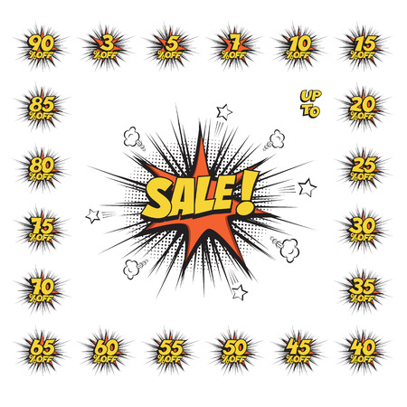cartoon bomb: SALE comic text speech bubble with huge discount set. Vector isolated sound effect puff cloud icon. Illustration