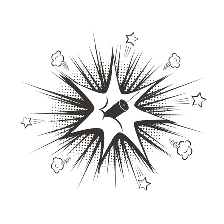 Vector black cartoon dynamit explosion. Illustration