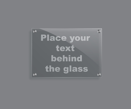 gloss: Vector realistic glass plate isolated on grey background.