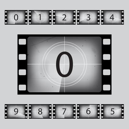 Vector movie retro countdown numbers set.