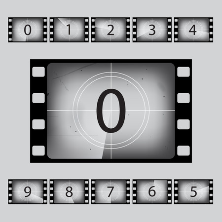 Vector movie retro countdown numbers set.