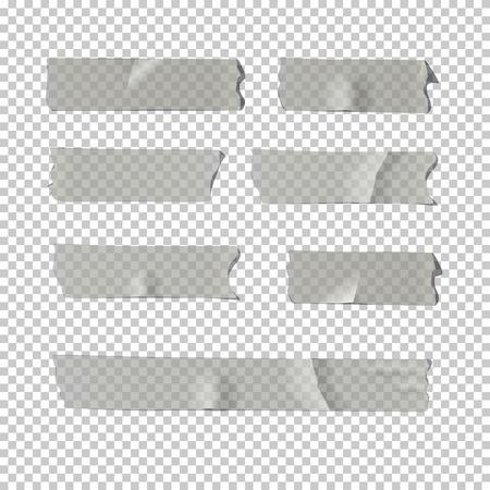 ベクトルの写実的な要素。粘着テープで隔離された透明な背景を設定します。  イラスト・ベクター素材