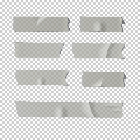 Vector realistic element. Adhesive tape set isolated on transparent background. Vettoriali
