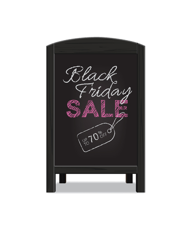 holiday shopping: Black wooden menu announcement board with Black Friday Sale text. Vector illustration.