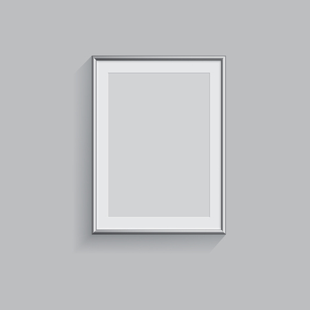 business card template: Silver picture or photo frame isolated on grey background. Vector illustration.