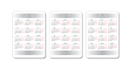 Pocket calendar set. 2018, 2019 and 2020 years. Vector white design template