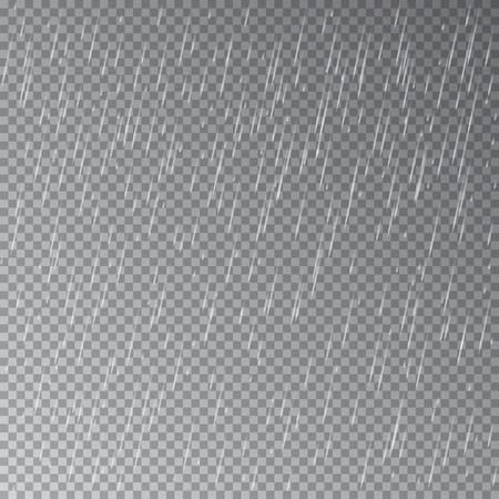 Deszcz na przezroczystym tle. Wektor. Ilustracje wektorowe