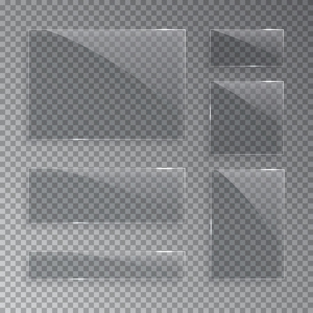 Glass plates isolated on transparent background. Vector illustration.