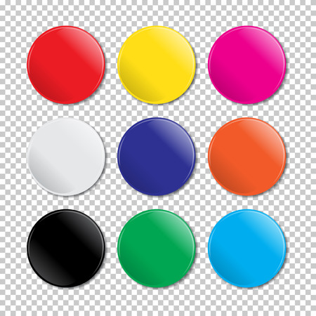 icone: Vector isolated realistic colored badges on transparent background.
