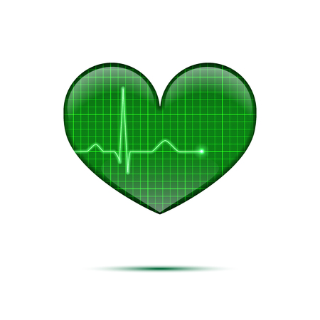 Vector isolated electrocardiogram background. Green line heart rate on the screen in heart shape. Stock Photo