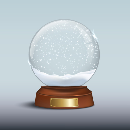 Elemento de diseño vectorial de Navidad. Globo de nieve con nieve brillante y insignia dorada sobre base de madera marrón. Ilustración de vector