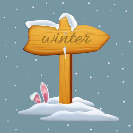 wooden post: Wooden arrow with Winter text on snowing background. Vector cartoon illustration.