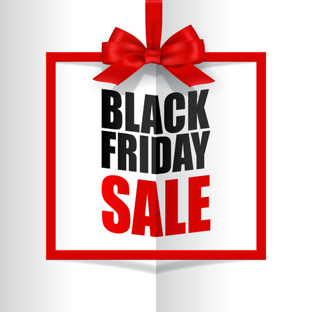 Black Friday Sale text with red frame and bow on book background. Vector template.