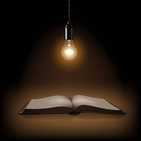 old pc: Lamp and opened book Vector illustration