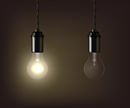 Glowing and switched off lamp isolated on brown background. Vector illustration. Ilustração