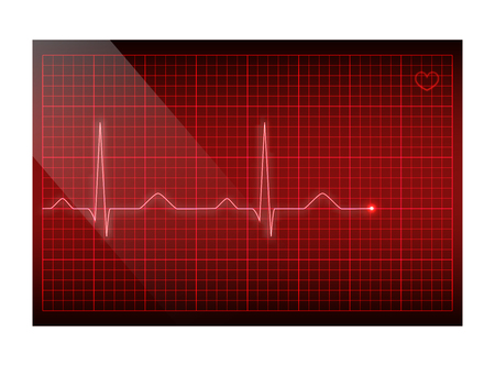 Red line heart rate on the screen. Vector electrocardiogram background.