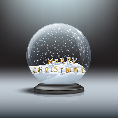 MERRY CHRISTMAS letters inside black snow globe. Illustration