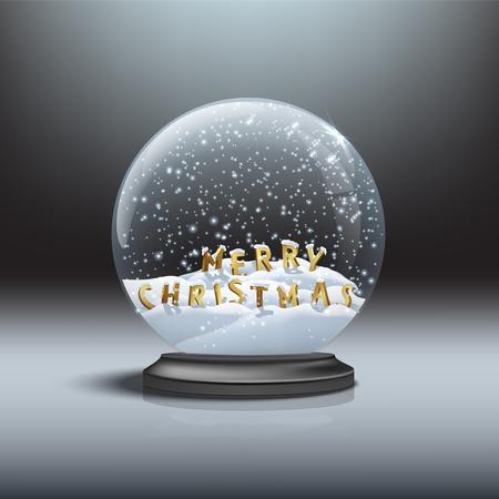 MERRY CHRISTMAS letters inside black snow globe. Illustration
