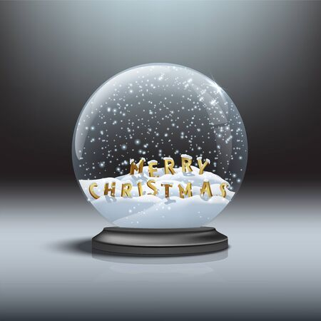 MERRY CHRISTMAS letters inside black snow globe. Vector Christmas and New Year design element. Snow globe with Merry Christmas signs.