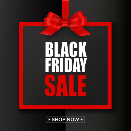 Black Friday Sale text with red frame and bow on black background. Vector illustration.