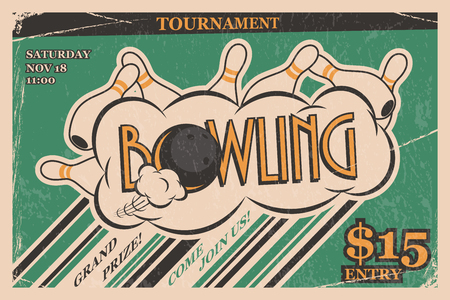 Bowling toernooi uitnodiging vintage poster. Kegelen staking in retro bowling toernooien posterontwerp concept. Vector illustratie