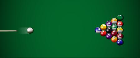 Vector realistic billiard strike. Colored billiard balls and cue on green table. Illustration