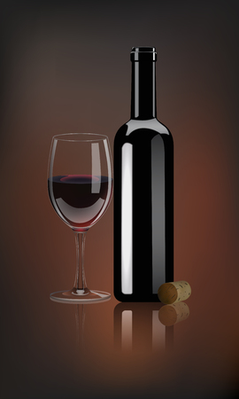 Vector realistic red wine bottle with wine glass and wine cork on dark background. Vintage wine illustration.
