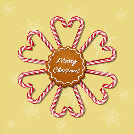 Christmas candy canes in hearts and snowflake shapes with red striped ribbon and cookie with Merry Christmas text. Vector Christmas background.