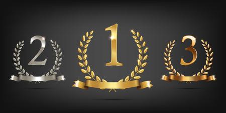 Couronnes de laurier en or, en argent et en bronze avec rubans et signes de première, deuxième et troisième places Vainqueur des symboles sportifs. Illustration vectorielle Banque d'images - 88910666