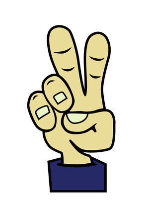 Vector cartoon hand victory sign. Peace hand symbol