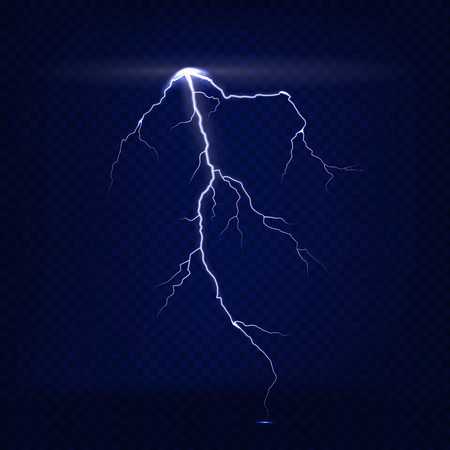 Vector realistic isolated lightning on dark blue transparent background. Vettoriali