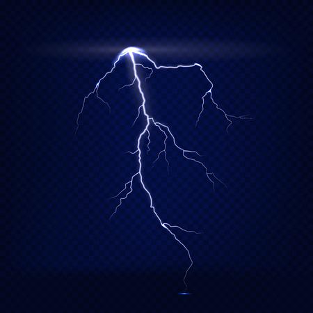 Vector realistic isolated lightning on dark blue transparent background. Illustration