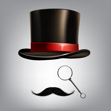 Gentleman accessories: hat cylinder, monocle and moustache. Vector illustration Illustration