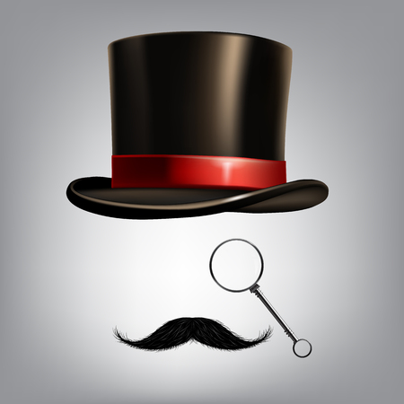 Gentleman accessories: hat cylinder, monocle and moustache. Vector illustration Illustration