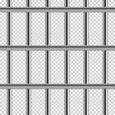 刑務所バーのシームレスなパターン。透明な背景に分離されたベクトルの現実的なイラスト。  イラスト・ベクター素材