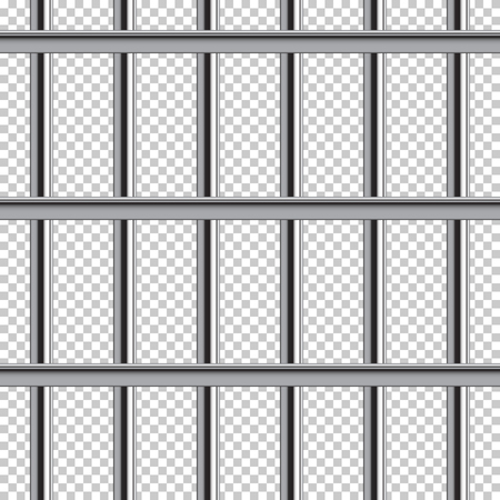 Prison bar seamless pattern. Vector realistic illustration isolated on transparent background.