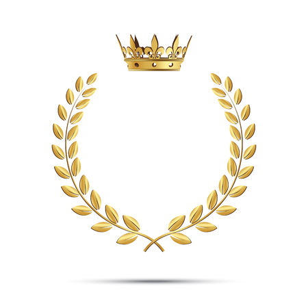 Isolated golden laurel wreath with crown. Vector illustration