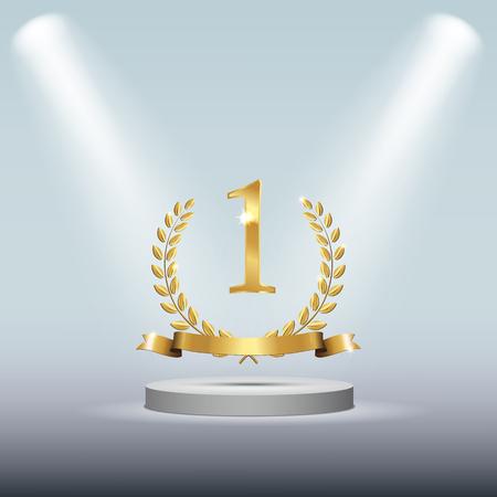 Winner round pedestal with golden number one symbol.