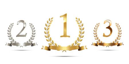 Ghirlande di alloro dorate, argento e bronzo con nastri e segni di primo, secondo e terzo posto isolati su sfondo bianco. Podio vincitore simboli sportivi. Illustrazione vettoriale