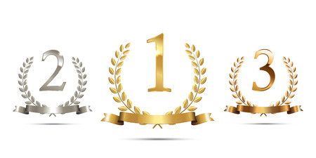 Golden, silver and bronze laurel wreaths with ribbons and first, second and third place signs isolated on white background. Winner podium sports symbols. Vector illustration