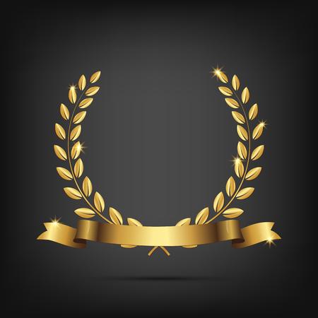 couronne de laurier d & # 39 ; or avec ruban isolé sur fond sombre . élément de design vecteur