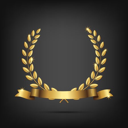 Golden laurel wreath with ribbon isolated on dark background. Vector design element