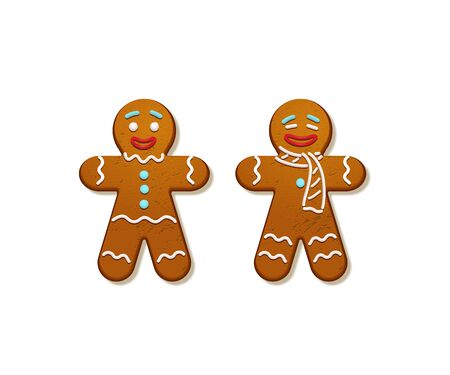 Gingerbread men. Vector Christmas and New Year holiday elements